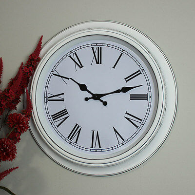 White round aged style wall clock shabby vintage chic gift Roman numeral country