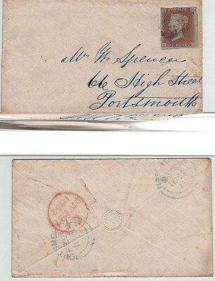 GB QV Cover 1852 1d Red 3 margin SG8 {IL} London to Portsmouth. L to LHS.