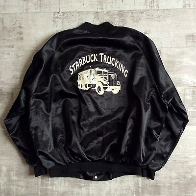 vtg STARBUCK TRUCKING BLACK NYLON satin BOMBER JACKET BY WESTARK USA MADE XXL