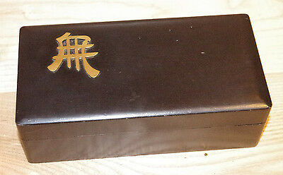 Antique Black Lacquer Japanese Box With Brass Kanji Character