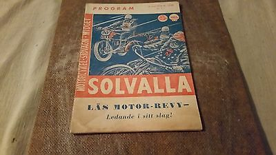 Programme  Motorcycle , Sidecar and Midget from Solvalla , Stockholm 1956