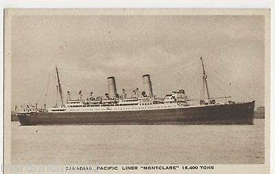 Canadian Pacific Liner Montclare Shipping Postcard, B551