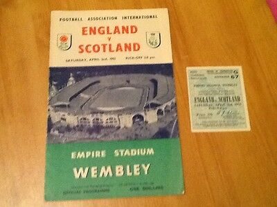 1955 England V Scotland Football Programme And Ticket
