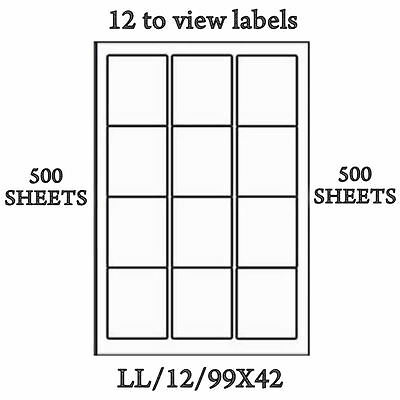 500 x Sheets A4 12 TO VIEW Sticky Self Adhesive Address Labels White Print Lazer