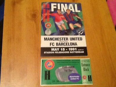 1991 European Cup Winners Final Manchester United V Barcelona Prog And Ticket