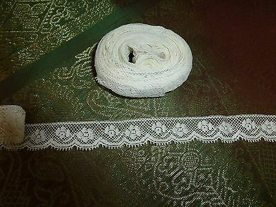 "Antique Vintage 19c Lace Chemical Schiffli Trim 2 pcs total 28' x 5/8"" Lovely"