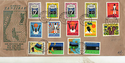 "1964 Zanzibar ""Jamhuri"" FDC with all 14 stamps in set on cover"