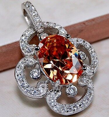 7CT Padparadscha Sapphire & White Topaz 925 Solid Sterling Silver Pendant