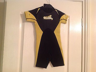 Bnwt Kids Black & Yellow Shortie Wet Suit By Kaiko Age 3-4 Years Rrp £16