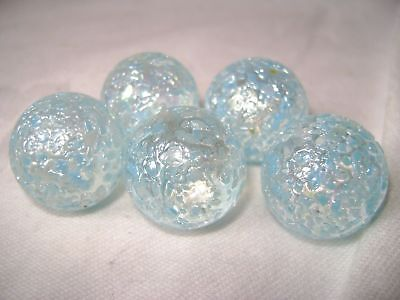 NEW 5 SNOWFLAKE 22mm GLASS MARBLES TRADITIONAL GAME or COLLECTORS ITEMS HOM
