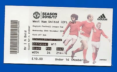 Manchester United v West Ham United FC League Cup 2016 MATCH TICKET