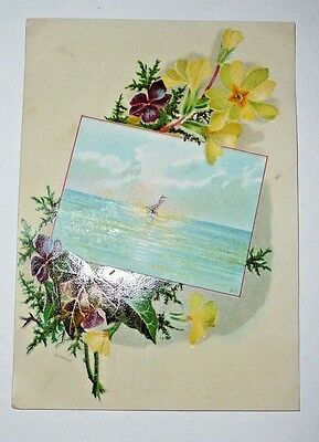 Antique Vintage Victorian Trade Card Woolson Spice Co Lion Flower Lake