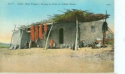 Chili(Red Peppers) Drying In Front Of Adobe Home-#2177-(Cf-903)Pre20