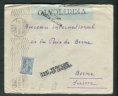 Greece 1916 Cancel on Cover to Switzerland Milano Italy Censor Tape & Handstamp