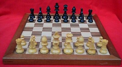 "VINTAGE 1970s CARVED WOODEN CHESS SET WITH BOX! 3"" TALL KINGS! SUPERB!"