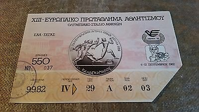 Ticket  Euro Athletics Championships 1982 in Greece   9 sept 1982.