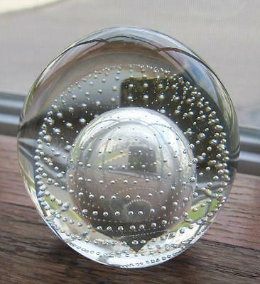 "Pilgrim Glass Crystal Controlled Bubble3.5"" Paperweight Original Label"