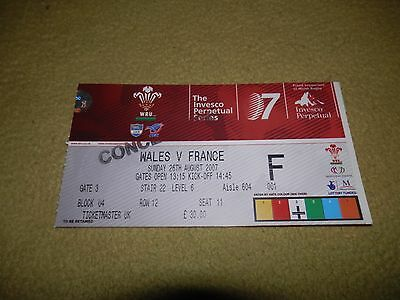 Wales v France - Rugby Union World Cup Warm-up match Ticket in 2007