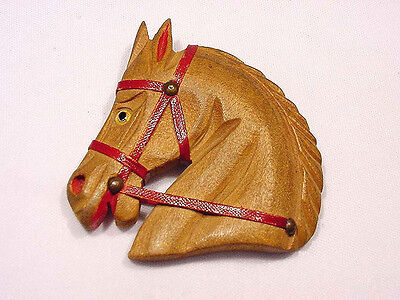 Vintage 1940s Carved Wood Horse Head Pin Glass Eye Leather Reins Book Ref