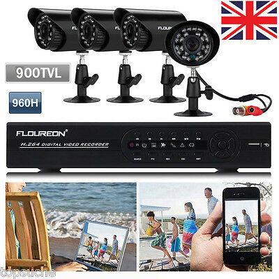 4 Channel 960H HDMI CCTV DVR 4X Outdoor 900TVL Video Camera Home Security System