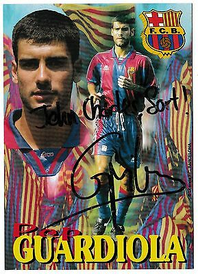 Fc Barcelona 1996-97 Official Football Postcard Signed By Pep Guardiola