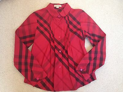 Burberry Red Checked Girls Shirt Size 7-8 Years