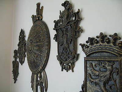 Lot of 5 Vintage Syroco Medieval Knight Eagle Coat of Arms Shield Crown Lion