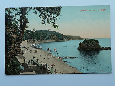 Valentine's vintage colour PC North Sands, Tenby. Pembs. Unposted Bathing Wagons