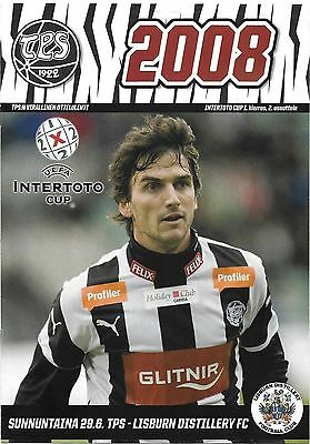 Football Programme TPS TURKU v LISBURN DISTILLERY Jun 2008 InterToto Cup
