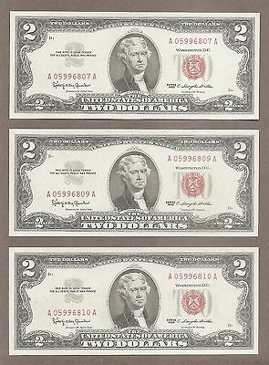 1963 - ( 3 ) $2 CU Red Seal Consecutive Notes