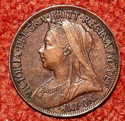 1901 Victoria OLD Head Farthing -- Collectible Grade & Detail