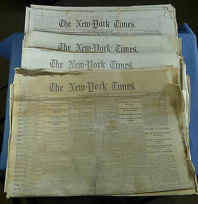 Civil War Lot of 25 New York Times Issues from March 1862, with War Maps