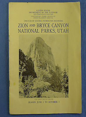 c. 1929 Zion and Bryce Canyon National Parks, UT Booklet by US Dept of Interior