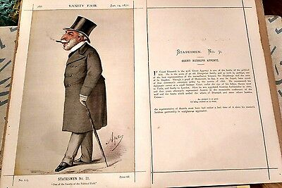 """Vanity Fair Original 1871""""by Ape"""" Count """".and his History page.Super copy"""