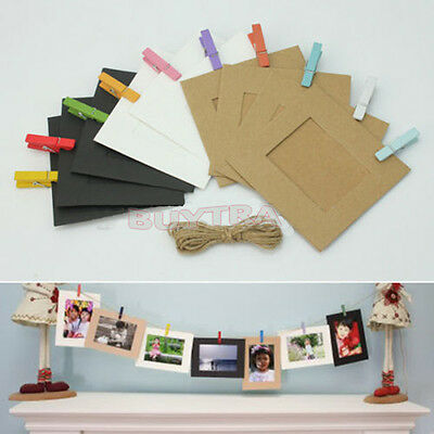 10 Pcs Photo Hanging Paper Frame Album Picture Display Wooden Clips Hemp Rope to