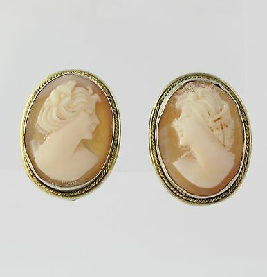 Carved Shell Cameo Earrings - Vintage Clip On Women's Estate Non-Pierced