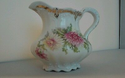 Antique Bavarian China Small Pitcher with Chrysanthemums Mums Gold Trim