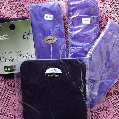 JOB LOT 5 pairs of Assorted Girls Tights - BLACK & PURPLE Mixed sizes