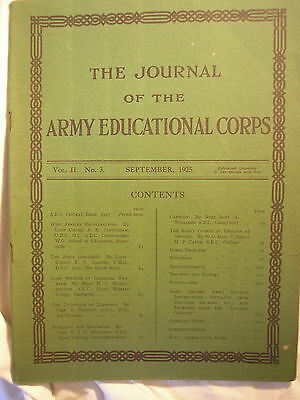 Army Educational Corps Journal 1925 RAEC AGC British Army Education History