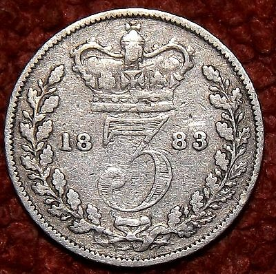 1883 Victoria Young  Head .925 Silver Threepence -- COLLECT / FILLER GRADE