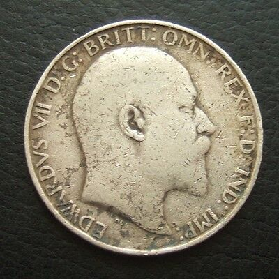 1907 EDWARD VII FLORIN : 2 SHILLINGS : BRITISH .9250 STERLING SILVER COIN ..b114