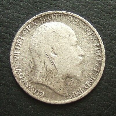 1906 EDWARD VII SIXPENCE : BRITISH .9250 STERLING SILVER COIN ...b57