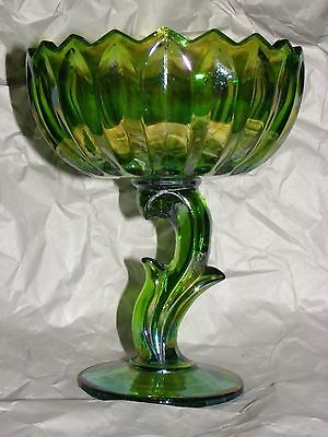 Indiana Glass Iridescent Lime Green Carnival Lotus Blossom Compote