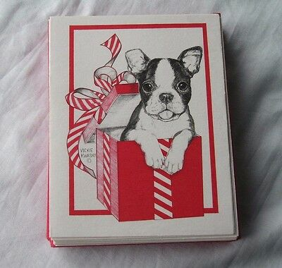 Boston Terrier Puppies Holiday Christmas Cards Unique & Adorable Lot of 20