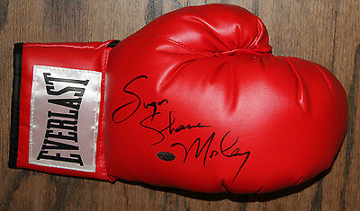 Sugar Shane Mosley Signed Autographed Red Everlast Boxing Glove Leaf #35589