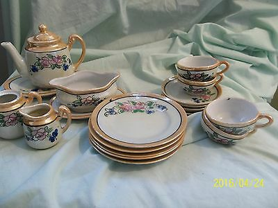Vintage 19 Pieces CHILD'S Lusterware TEA SET Made In Japan - Floral Pattern