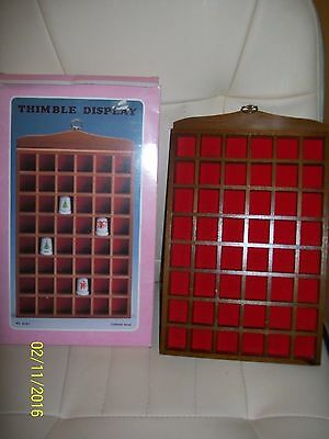 Boxed Wooden Display Case Thimble Holder  Hanging Red Felt For 48 Thimbles