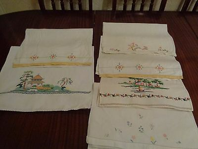 Vintage Linen Hand Guest Towels  Embroidered Detail X 7