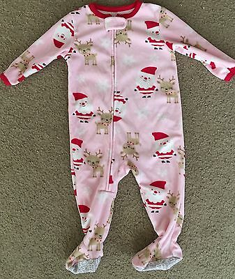 Child Of Mine By Carters Girls Christmas Sleeper Pajamas Size 12 Months