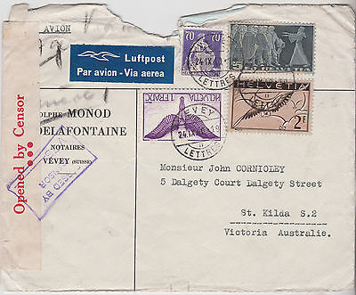 1940 Good Greece Cover With Stamps Mailed To Victoria Opened Australian Censor